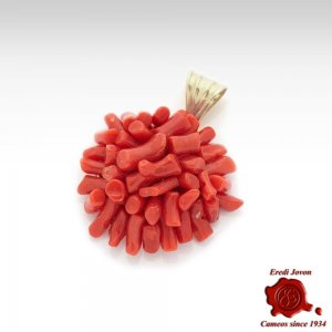 Red Coral Pendant for Necklace in Silver