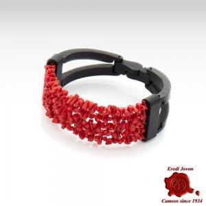 Coral Ebony Onyx Cameo Bracelet