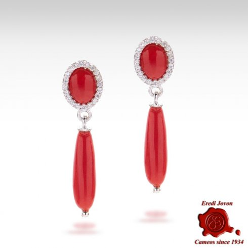 Coral Earrings Tear Drop Zirconia