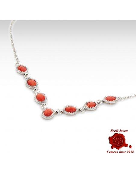 Collana Corallo Rosso Zirconi in Argento