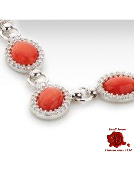 Red Coral Necklace with Zirconia