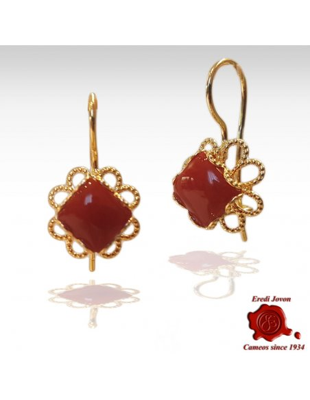 Gold Filigree and Red Coral Earrings Dangle