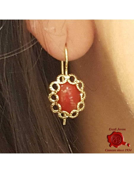 Gold Dangle Red Coral Earrings Filigree Oval