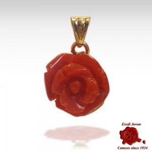 Red Coral Engraved Rose Pendant Gold