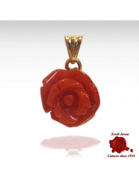 Ciondolo Corallo Rosso Inciso a Rosa
