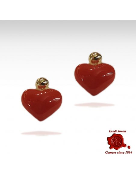 Blood Coral and Gold Earrings Heart Shaped