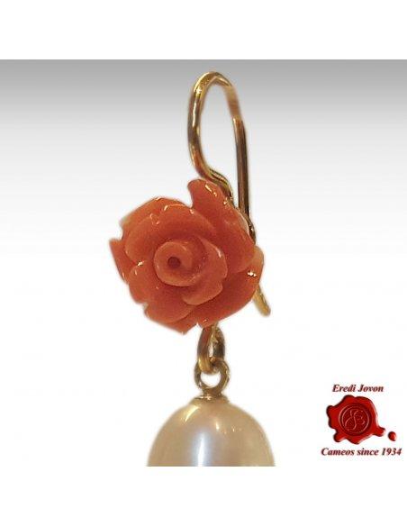 Rose Corallo Vecchio Arancio e Perle Montati in Oro