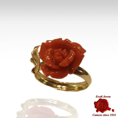 Red Coral Rose Ring Gold