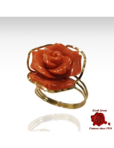 """Anello Rosa Corallo e Oro """"Scintille"""""""