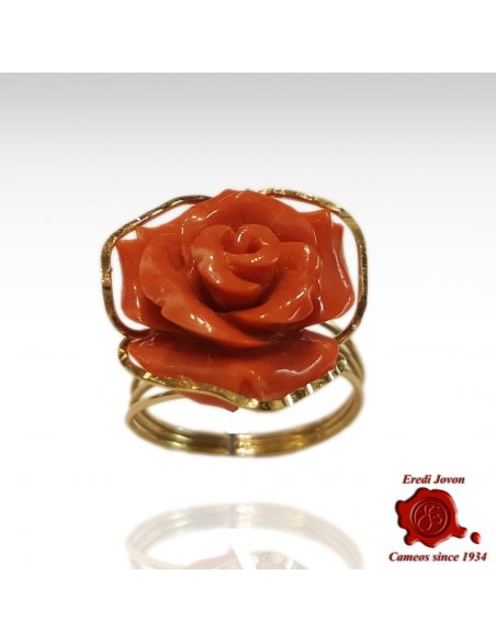 Ring Engraved Rose in Coral and Gold