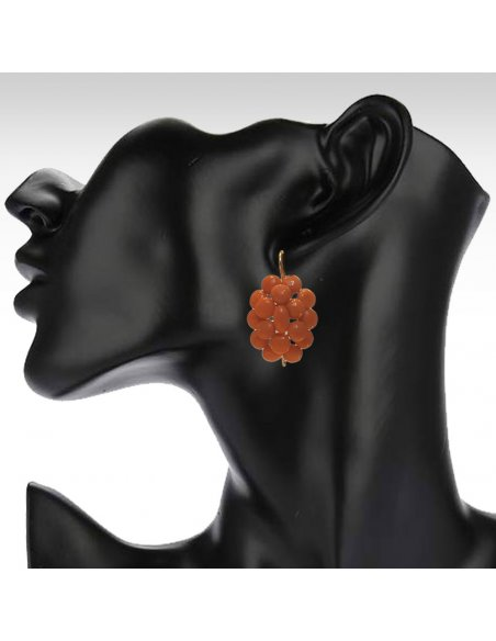 Dangle Earrings with Antique Sicily Coral