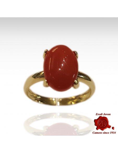 Anello Corallo Rosso Cabochon Oro