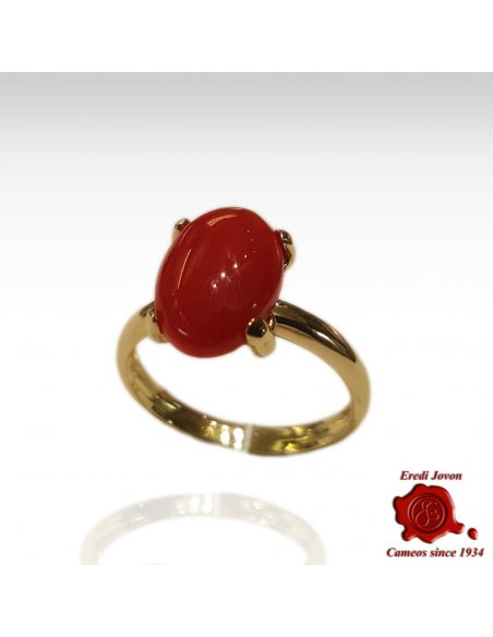 Cabochon Oval Coral Ring Gold Set