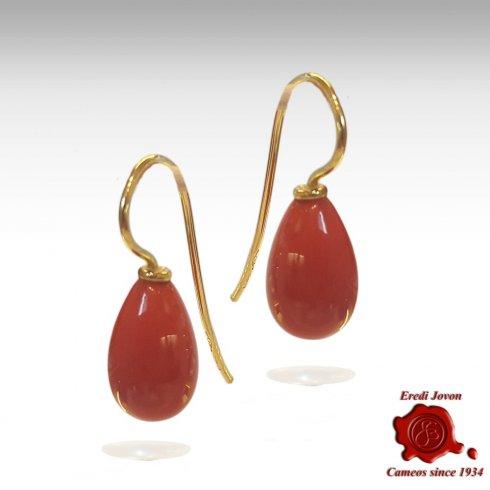 Orecchino Goccia Corallo Rosso Oro