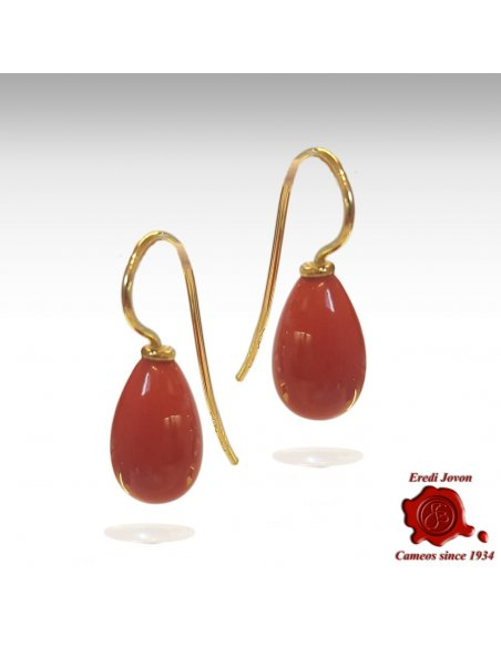 Red Coral Drop Earrings Gold