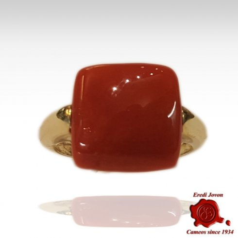 Square Coral Ring Gold