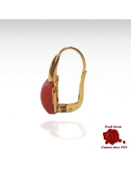 Square Coral Dangle Earrings Gold