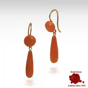 Dangling Antique Coral Earrings