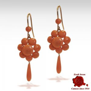 Antique Coral Drop Earrings from Siacca