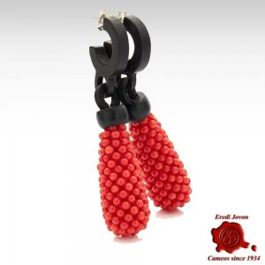 Red Coral Ebony Earrings Dangle