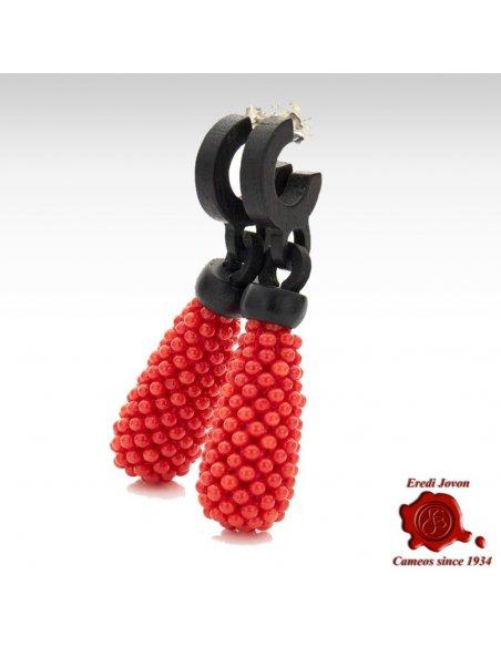 Orecchini in Corallo Rosso e Ebano Pendenti