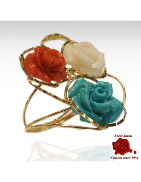 Ring Engraved Rose in Coral and Turquoise