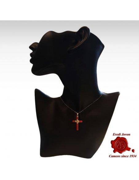 Croce Corallo Rosso Argento o Oro