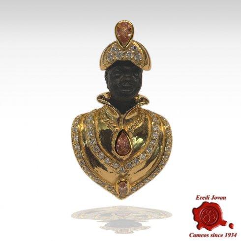Moretto veneziano Spilla argento dorato