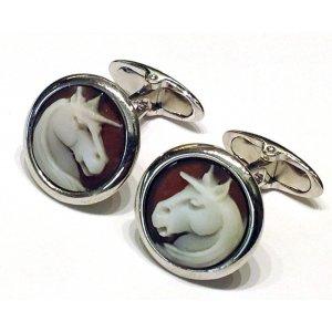 Cameo cufflinks unicorn silver