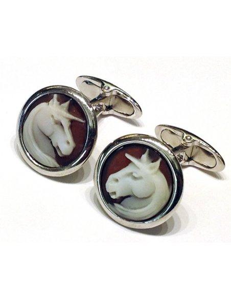 Gemelli Cammeo Unicorno Argento