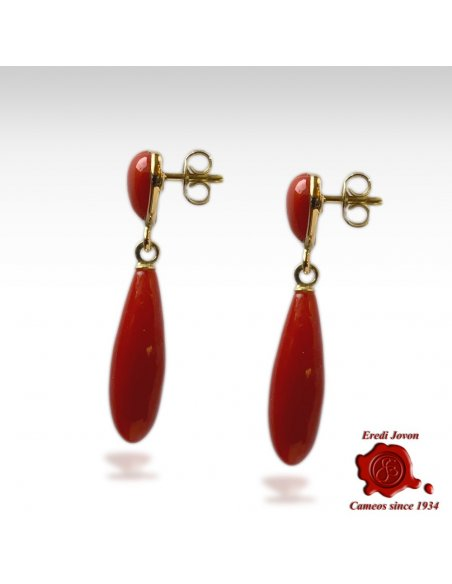 Red Coral Earrings Drop and Heart in Gold