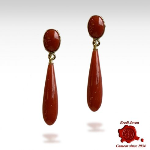 Red Coral Earrings Drop and Oval Cabochon Yellow Gold