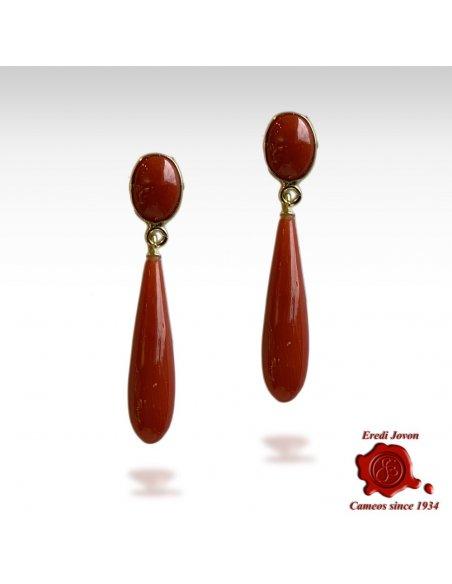 Orecchini Pendenti in Corallo Rosso con Cabochon Ovale i