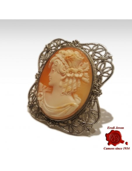 Filigree Cameo Silver Antique