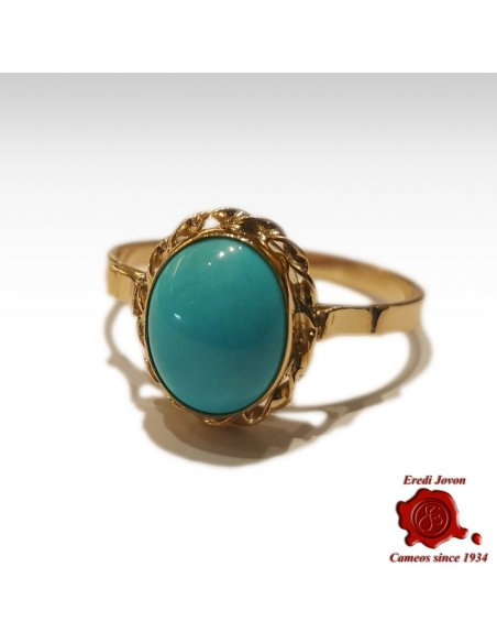 Turquoise Stone Ring 18 kt Gold