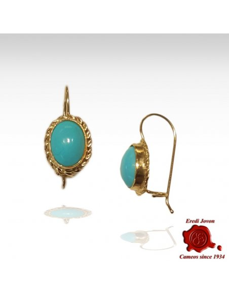 Turquoise Dangle Earrings Gold Rope