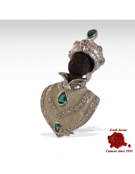 Venetian Blackamoor Brooch Silver Jewelry