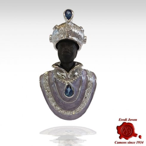 Venetian Blackamoor Brooch Gold Plated Jewelry