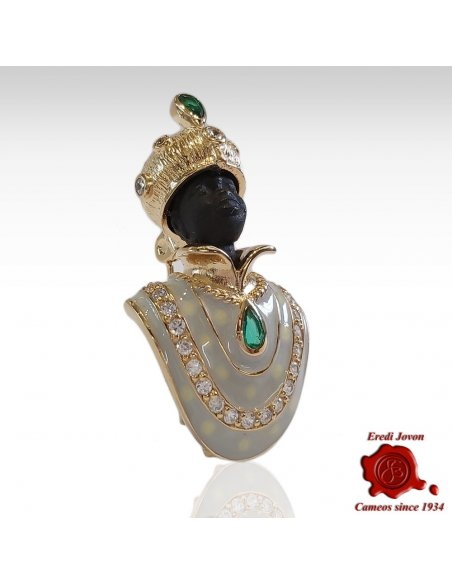 Blackamoor Brooch Gold Plated White