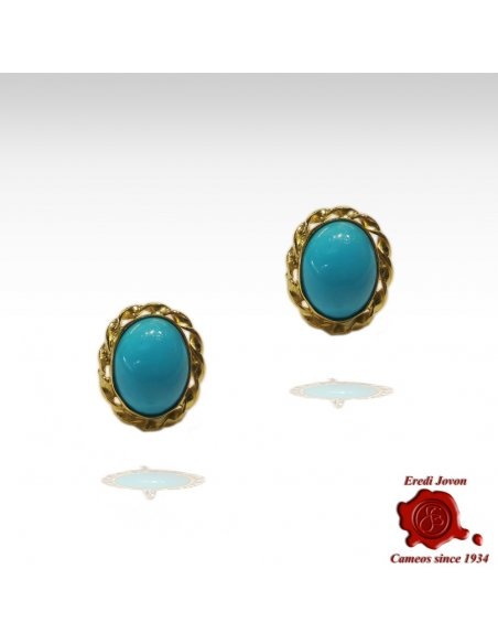 Turquoise Studs Earrings Gold Venetian Rope