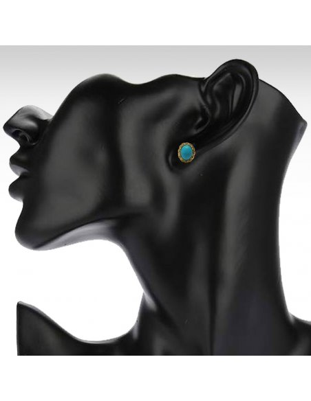 Turquoise Studs Earrings Gold Venetian Rope