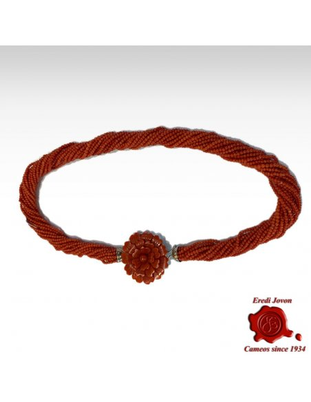 Multi String Red Coral Necklace Gold