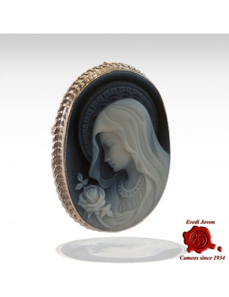 Holy Virgin Silver Cameo Brooch