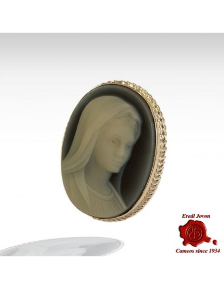 Holy Virgin Blue Cameo Brooch Silver