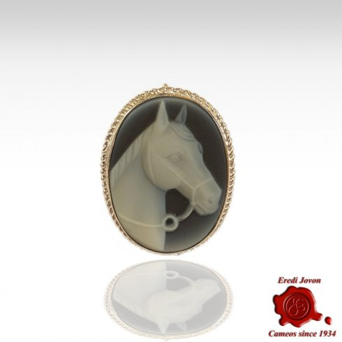Horse Cameo Brooch in Silver