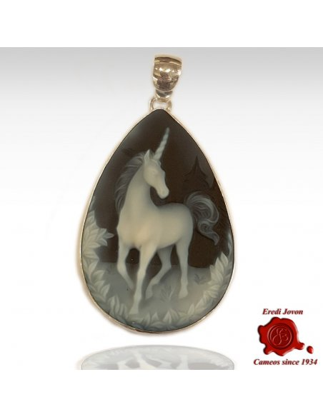 Unicorn Blue Cameo Pendant Tear Drop
