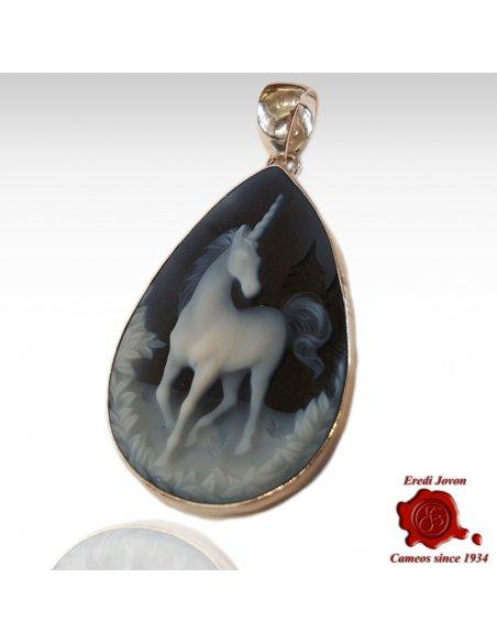 Unicorno Ciondolo Cammeo a Mandorla in Argento