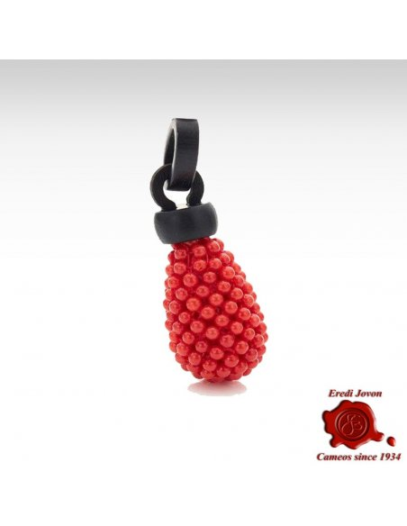 Red Coral Ebony Pendant for Necklace