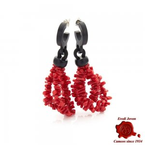 Red Raw Coral Ebony Earrings
