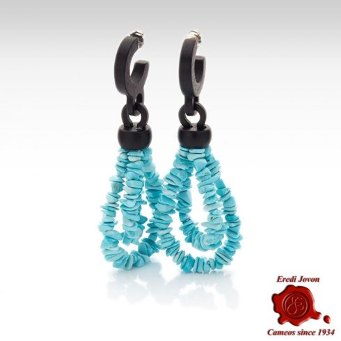 Turquoise and Ebony Earrings